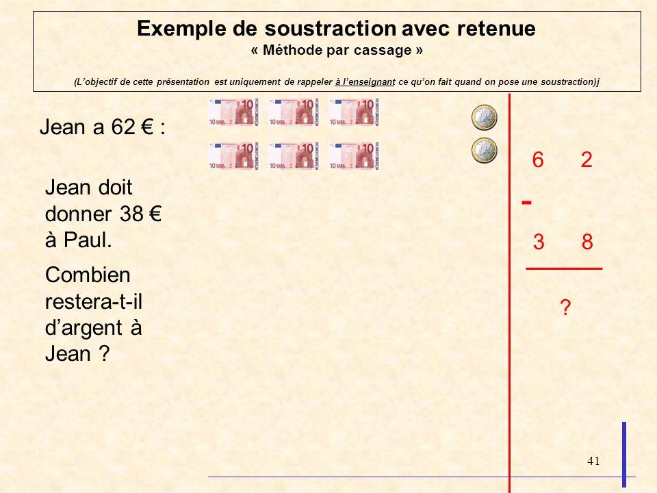 41 Exemple de soustraction avec retenue « Méthode par cassage » (Lobjectif de cette présentation est uniquement de rappeler à lenseignant ce quon fait