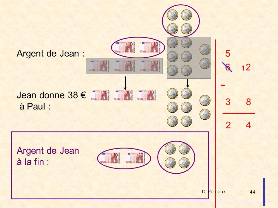 44 Argent de Jean : 6 2 5 1 Argent de Jean à la fin : 2 4 3 8 - Jean donne 38 à Paul : D. Pernoux