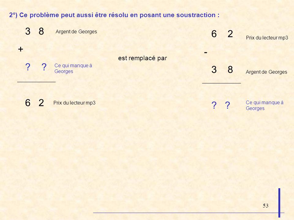 53 2°) Ce problème peut aussi être résolu en posant une soustraction : 3 8 + ? 6 2 est remplacé par 6 2 - 3 8 ? ? Argent de Georges Prix du lecteur mp