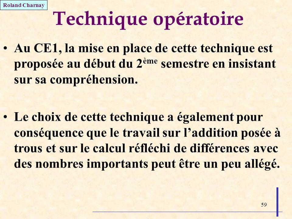 59 Technique opératoire Au CE1, la mise en place de cette technique est proposée au début du 2 ème semestre en insistant sur sa compréhension. Le choi