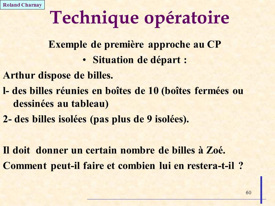 60 Technique opératoire Exemple de première approche au CP Situation de départ : Arthur dispose de billes. l- des billes réunies en boîtes de 10 (boît