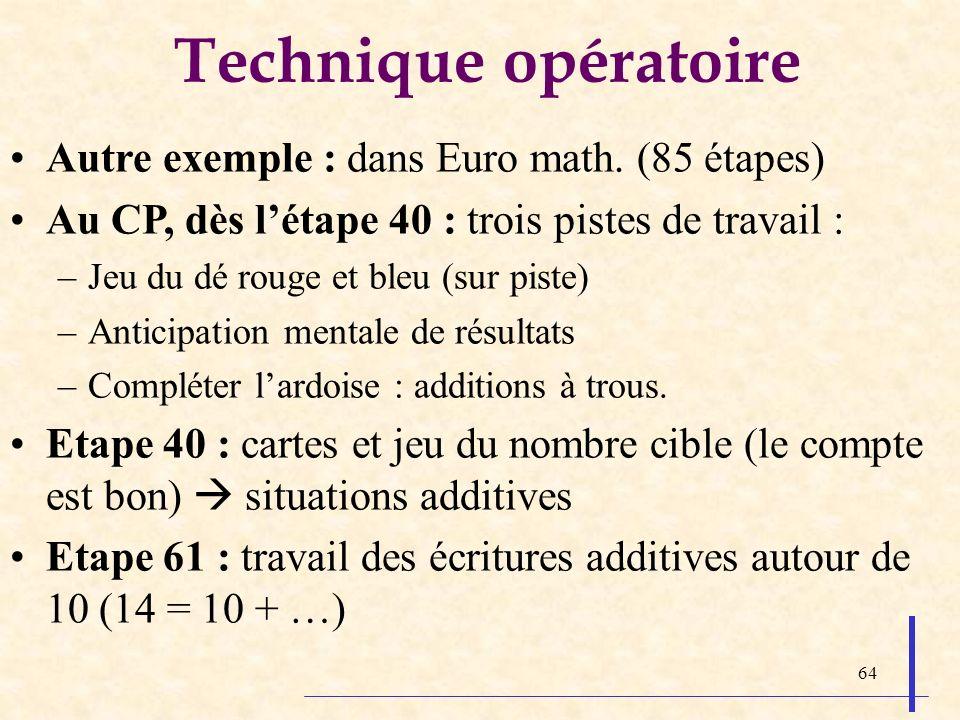 64 Technique opératoire Autre exemple : dans Euro math. (85 étapes) Au CP, dès létape 40 : trois pistes de travail : –Jeu du dé rouge et bleu (sur pis