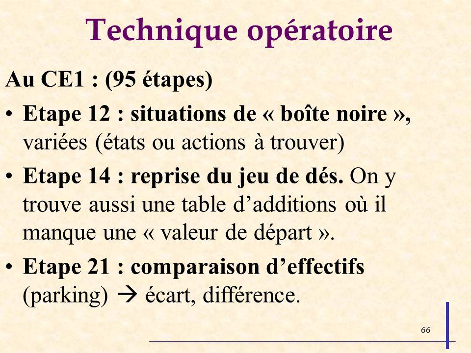 66 Technique opératoire Au CE1 : (95 étapes) Etape 12 : situations de « boîte noire », variées (états ou actions à trouver) Etape 14 : reprise du jeu