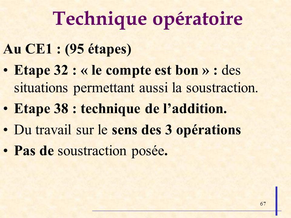 67 Technique opératoire Au CE1 : (95 étapes) Etape 32 : « le compte est bon » : des situations permettant aussi la soustraction. Etape 38 : technique