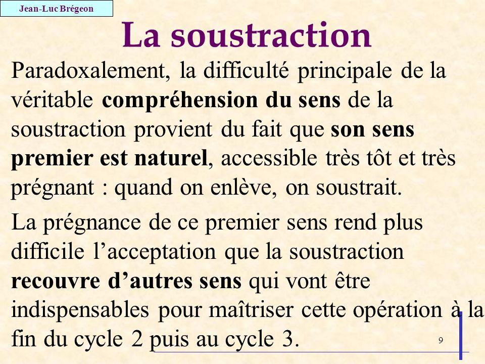 9 La soustraction Paradoxalement, la difficulté principale de la véritable compréhension du sens de la soustraction provient du fait que son sens prem