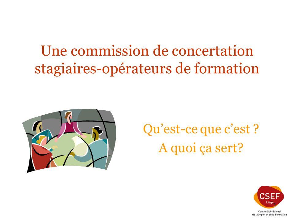 1 Une commission de concertation stagiaires-opérateurs de formation Quest-ce que cest .