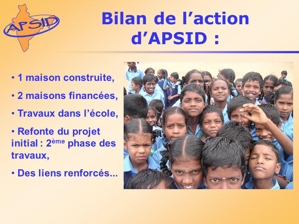 Bilan de laction dAPSID : 1 maison construite, 2 maisons financées, Travaux dans lécole, Refonte du projet initial : 2 ème phase des travaux, Des lien