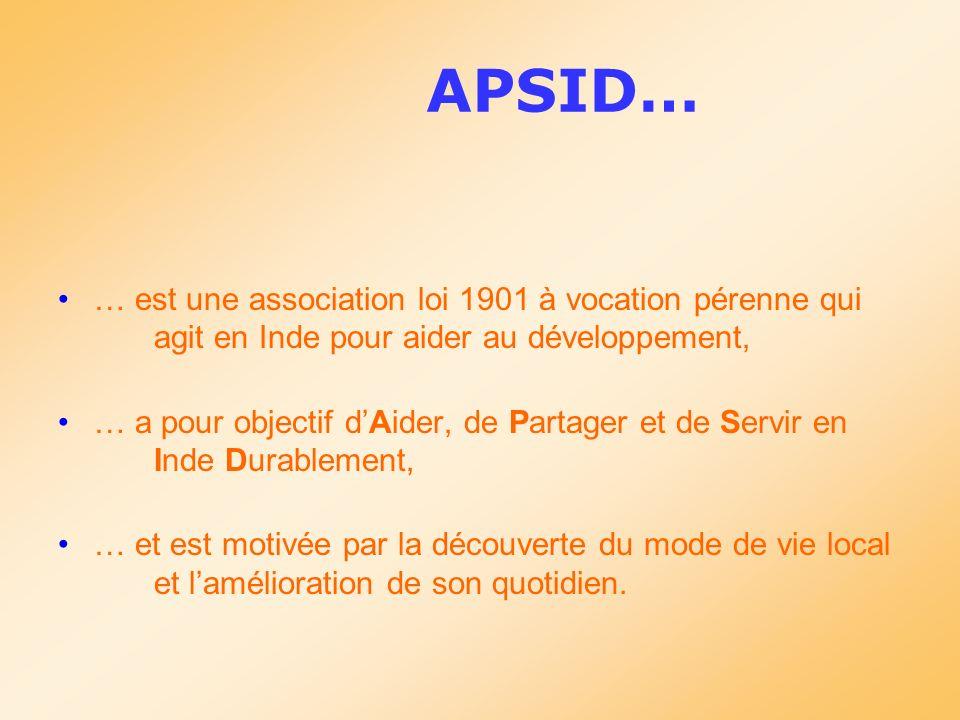 APSID… … est une association loi 1901 à vocation pérenne qui agit en Inde pour aider au développement, … a pour objectif dAider, de Partager et de Ser