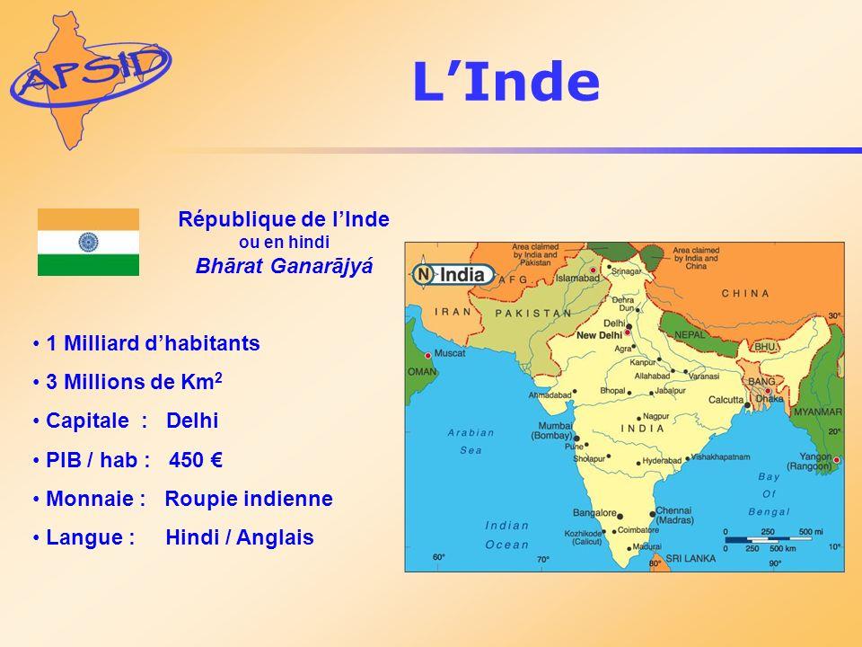 République de lInde ou en hindi Bhārat Ganarājyá 1 Milliard dhabitants 3 Millions de Km 2 Capitale : Delhi PIB / hab : 450 Monnaie : Roupie indienne L