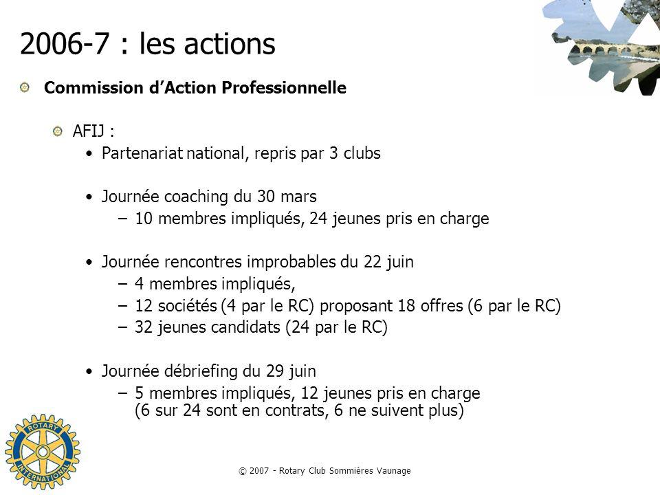 © 2007 - Rotary Club Sommières Vaunage 2006-7 : les actions Commission dAction Professionnelle AFIJ : Partenariat national, repris par 3 clubs Journée