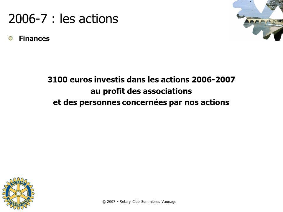 © 2007 - Rotary Club Sommières Vaunage 2006-7 : les actions Finances 3100 euros investis dans les actions 2006-2007 au profit des associations et des