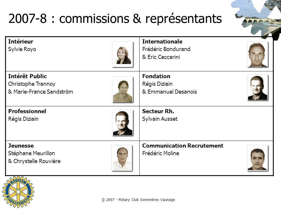© 2007 - Rotary Club Sommières Vaunage 2007-8 : commissions & représentants Intérieur Sylvie Royo Internationale Frédéric Bondurand & Eric Ceccarini I
