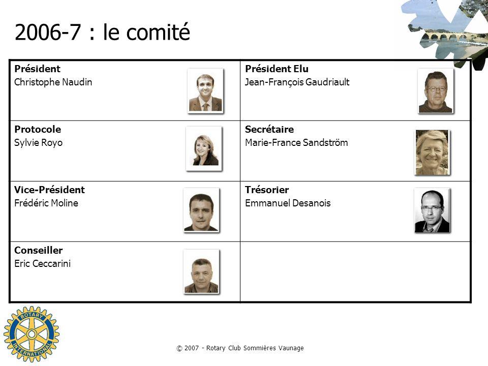 © 2007 - Rotary Club Sommières Vaunage 2006-7 : le comité Président Christophe Naudin Président Elu Jean-François Gaudriault Protocole Sylvie Royo Sec