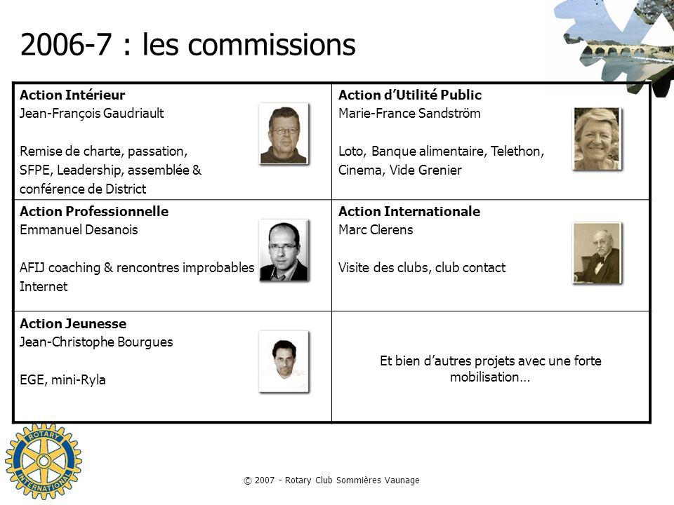 © 2007 - Rotary Club Sommières Vaunage 2006-7 : les commissions Action Intérieur Jean-François Gaudriault Remise de charte, passation, SFPE, Leadershi