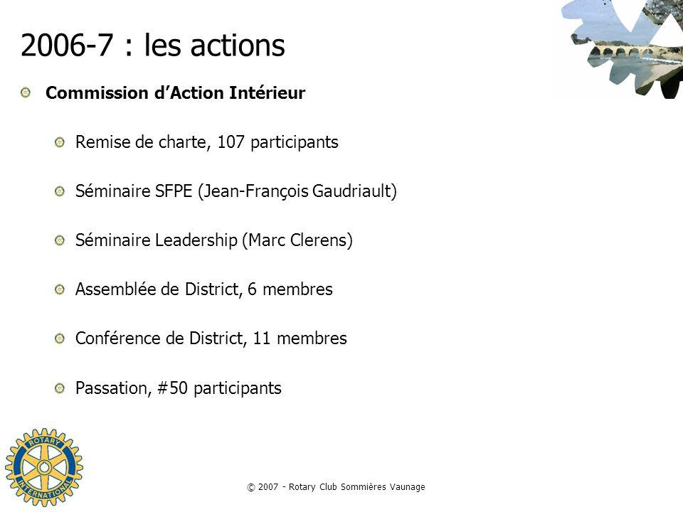 © 2007 - Rotary Club Sommières Vaunage 2006-7 : les actions Commission dAction Intérieur Remise de charte, 107 participants Séminaire SFPE (Jean-Franç