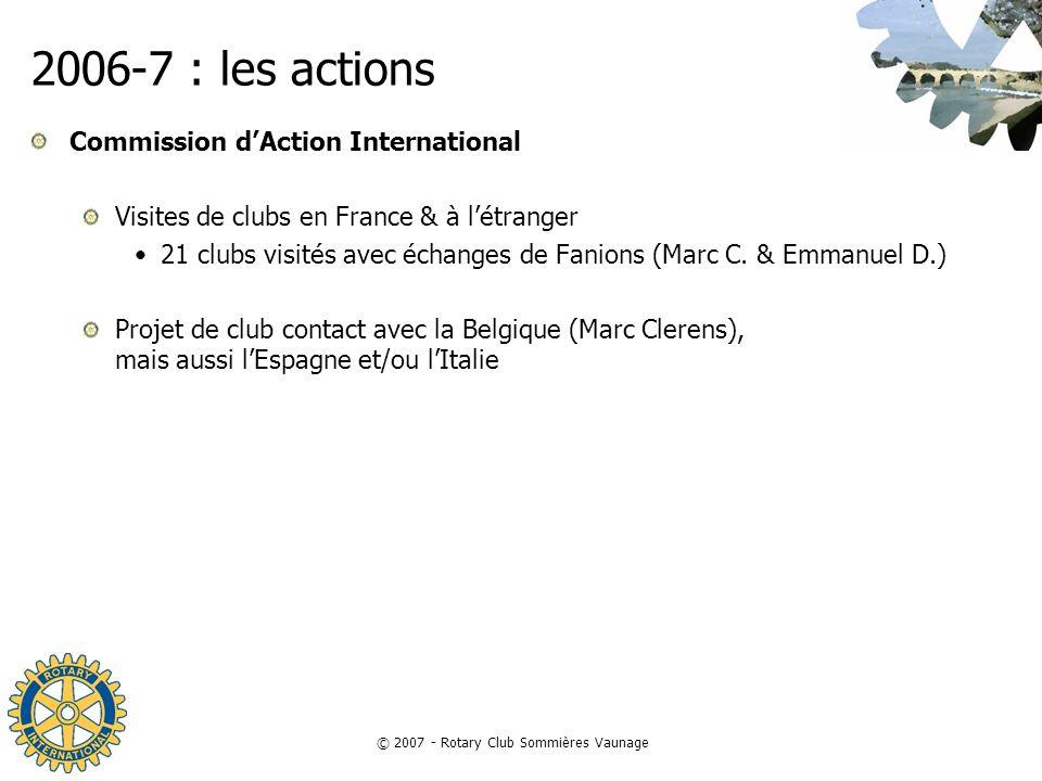© 2007 - Rotary Club Sommières Vaunage 2006-7 : les actions Commission dAction International Visites de clubs en France & à létranger 21 clubs visités