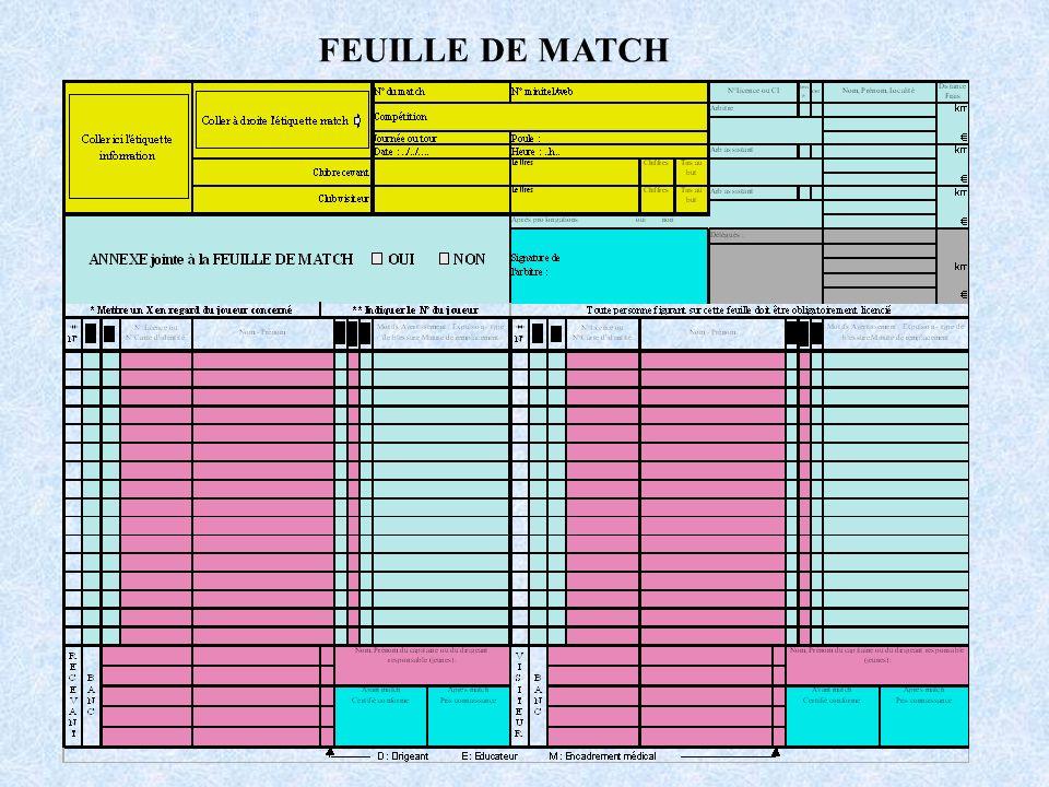 FEUILLE DE MATCH