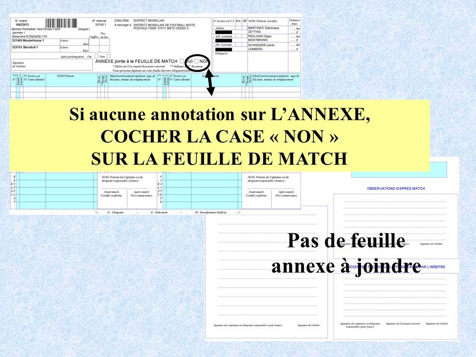 Si aucune annotation sur LANNEXE, COCHER LA CASE « NON » SUR LA FEUILLE DE MATCH Pas de feuille annexe à joindre