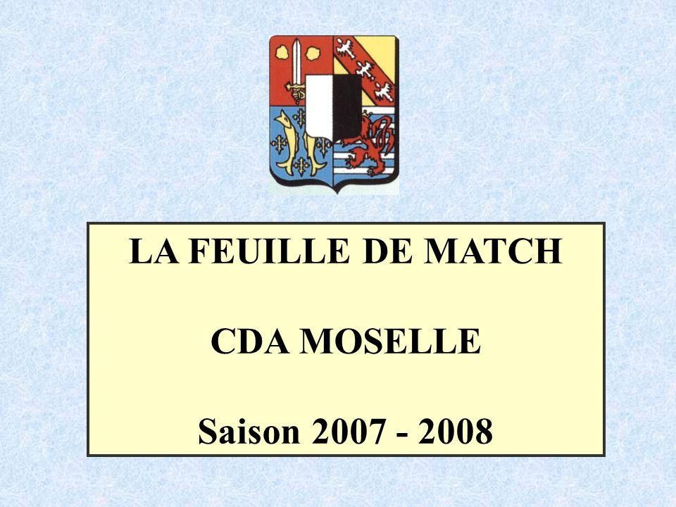 LA FEUILLE DE MATCH CDA MOSELLE Saison 2007 - 2008