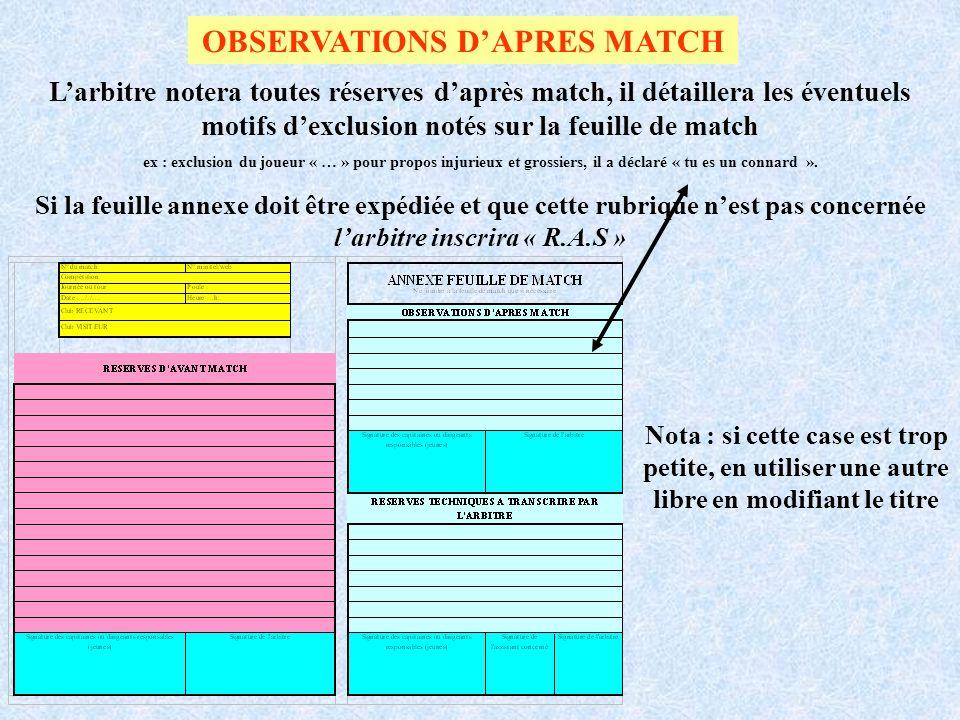 OBSERVATIONS DAPRES MATCH Larbitre notera toutes réserves daprès match, il détaillera les éventuels motifs dexclusion notés sur la feuille de match ex