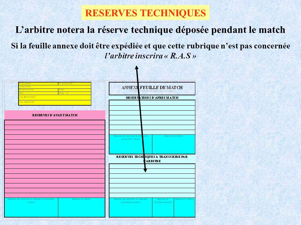 RESERVES TECHNIQUES Larbitre notera la réserve technique déposée pendant le match Si la feuille annexe doit être expédiée et que cette rubrique nest p