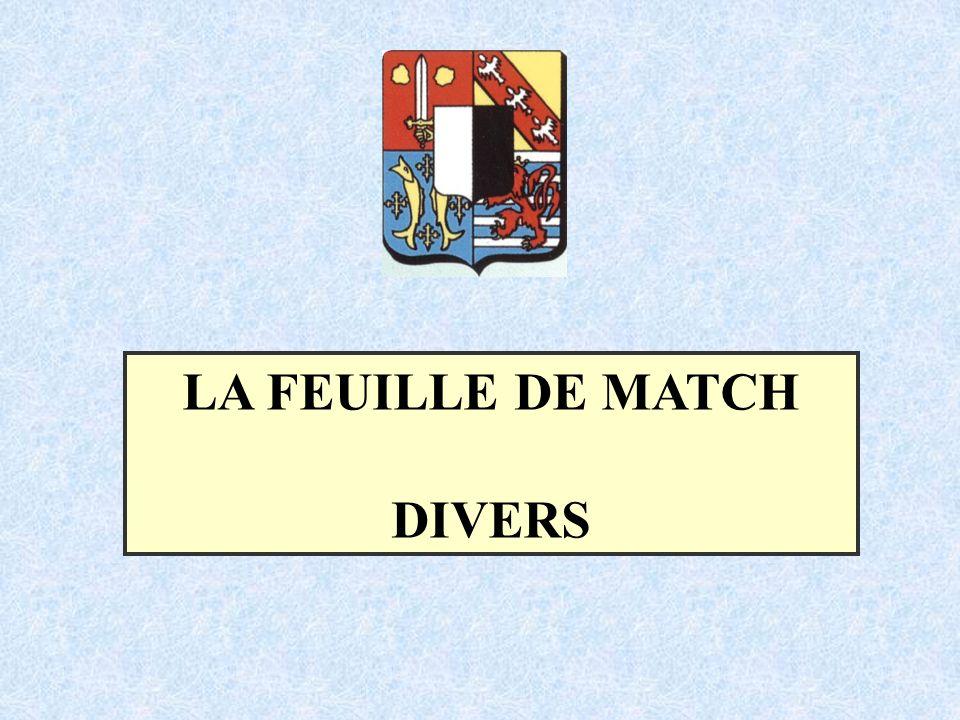 LA FEUILLE DE MATCH DIVERS