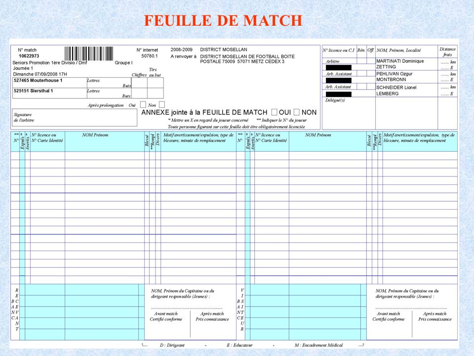 Attention dutiliser la feuille de match correspondant à la journée et la catégorie (seniors, U19, U17, ….