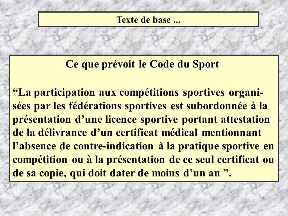 Texte de base... Ce que prévoit le Code du Sport Ce que prévoit le Code du Sport La participation aux compétitions sportives organi- sées par les fédé
