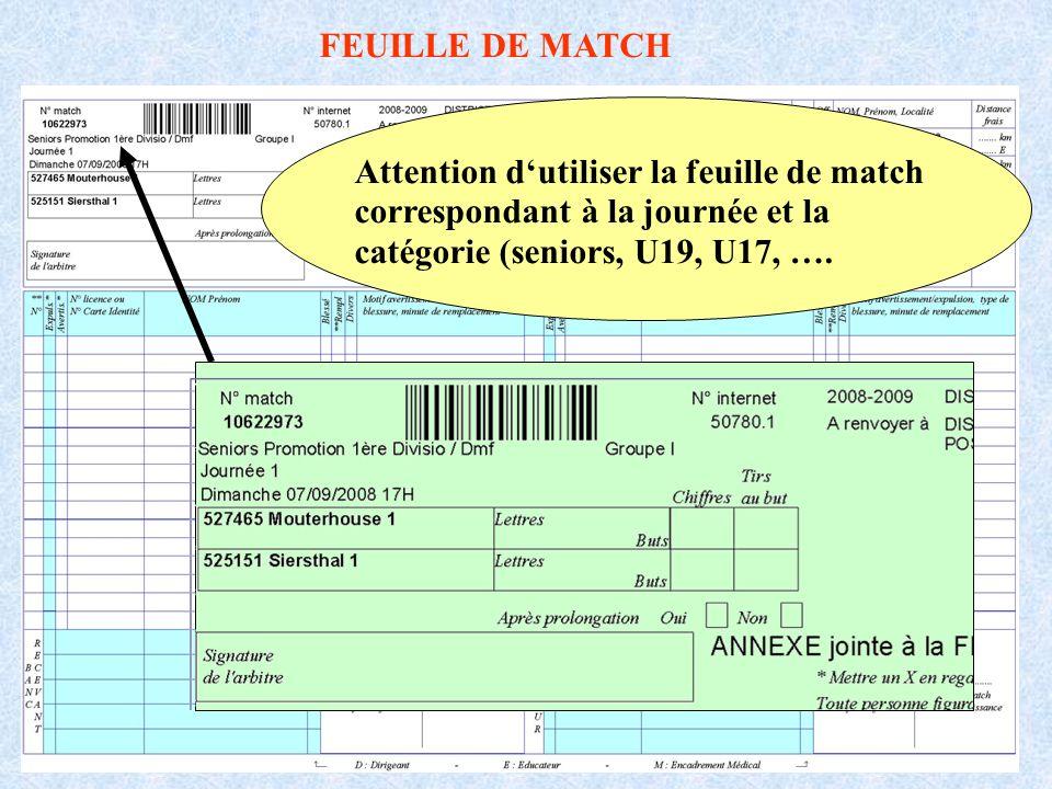 Attention dutiliser la feuille de match correspondant à la journée et la catégorie (seniors, U19, U17, ….