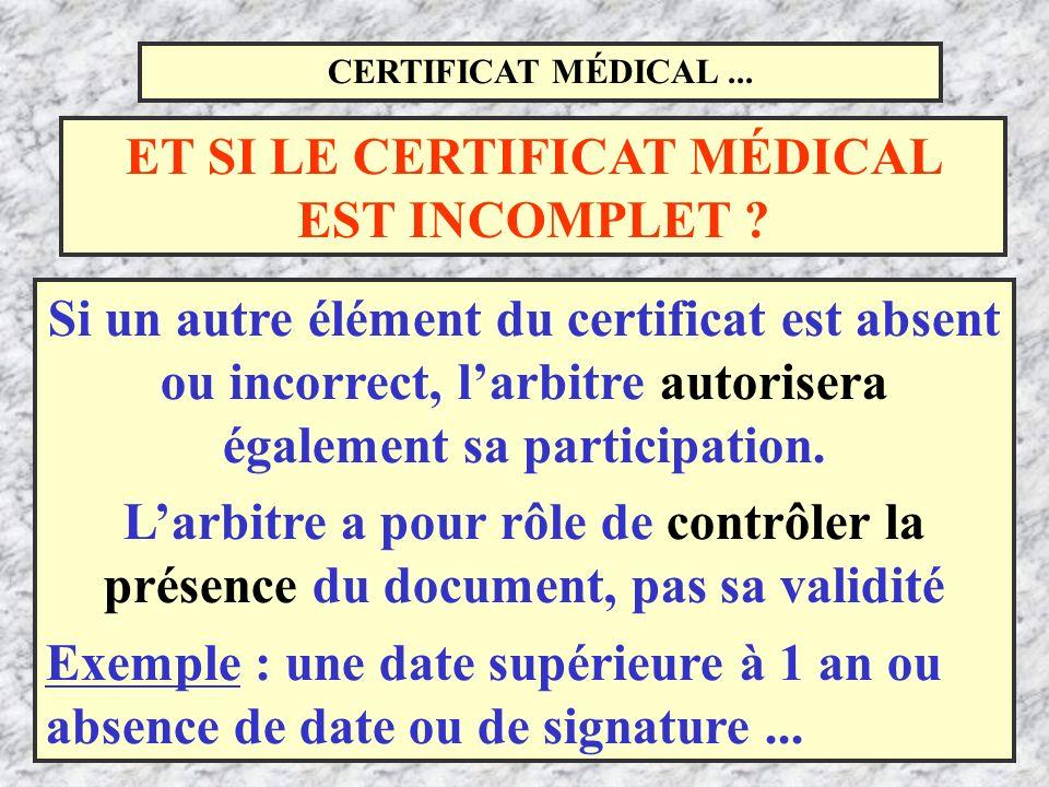 CERTIFICAT MÉDICAL... Si un autre élément du certificat est absent ou incorrect, larbitre autorisera également sa participation. Larbitre a pour rôle