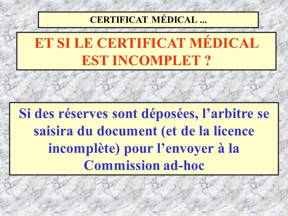 CERTIFICAT MÉDICAL... Si des réserves sont déposées, larbitre se saisira du document (et de la licence incomplète) pour lenvoyer à la Commission ad-ho