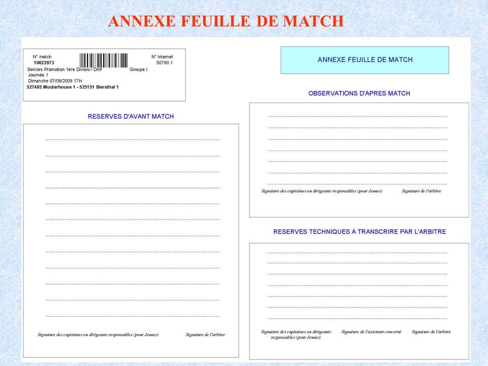 ANNEXE FEUILLE DE MATCH