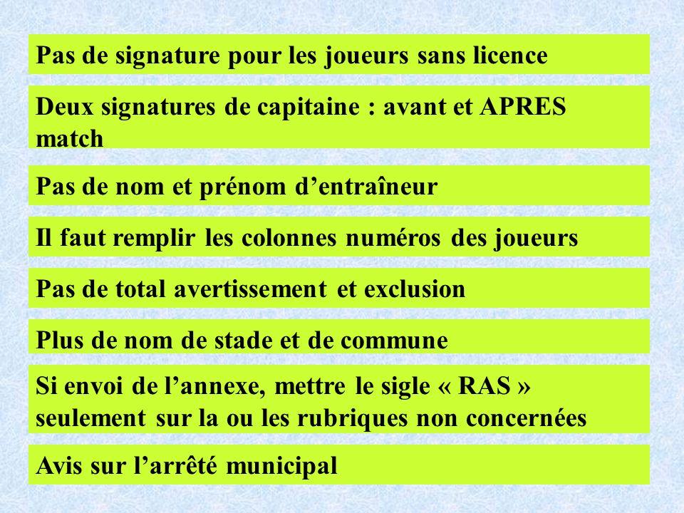 Plus de nom de stade et de commune Il faut remplir les colonnes numéros des joueurs Pas de total avertissement et exclusion Pas de signature pour les