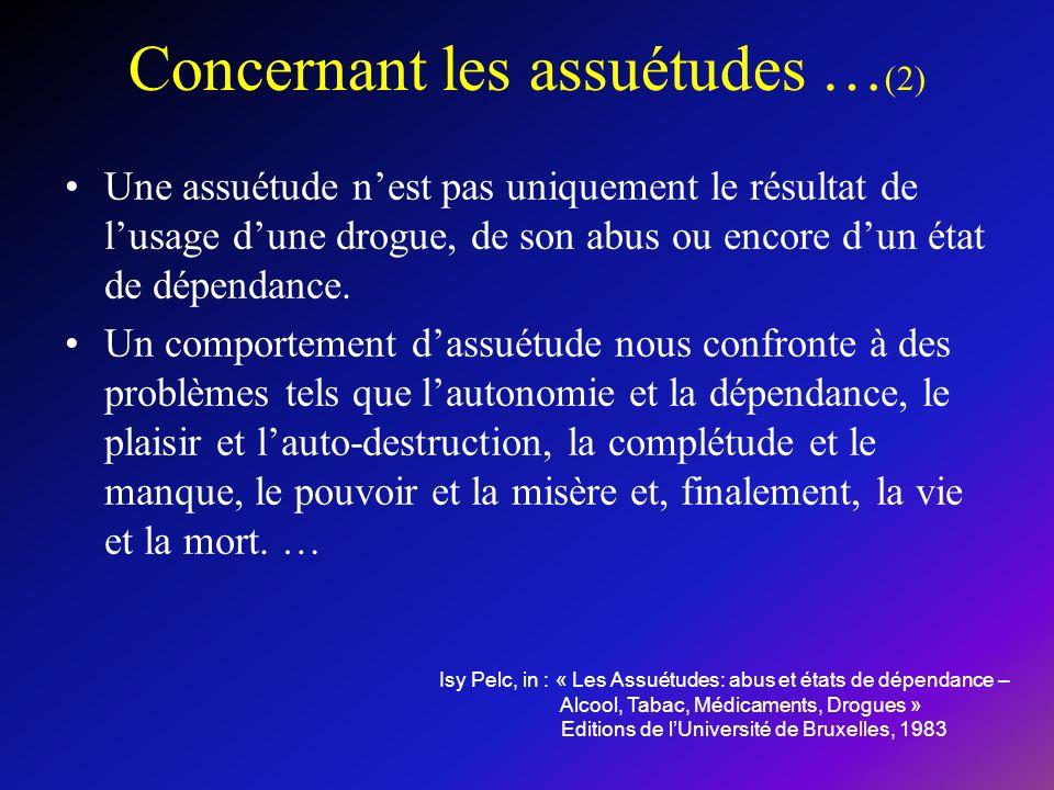 Concernant les assuétudes … (2) Une assuétude nest pas uniquement le résultat de lusage dune drogue, de son abus ou encore dun état de dépendance.