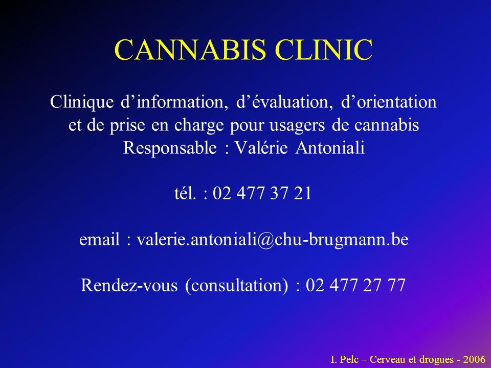 CANNABIS CLINIC Clinique dinformation, dévaluation, dorientation et de prise en charge pour usagers de cannabis Responsable : Valérie Antoniali tél.