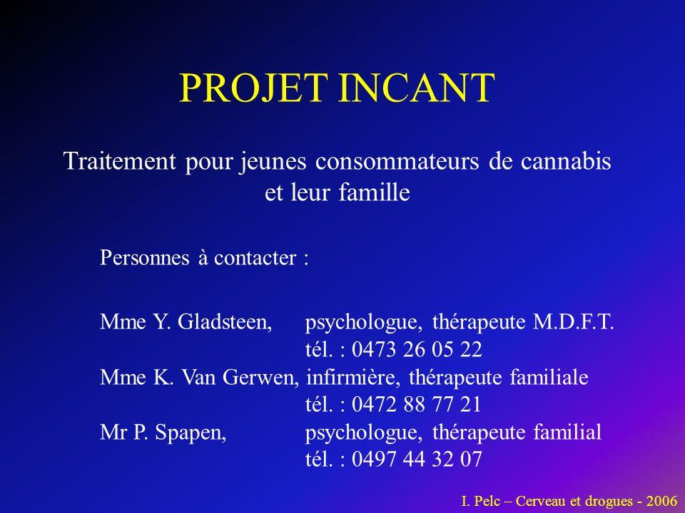 PROJET INCANT Traitement pour jeunes consommateurs de cannabis et leur famille Personnes à contacter : Mme Y.