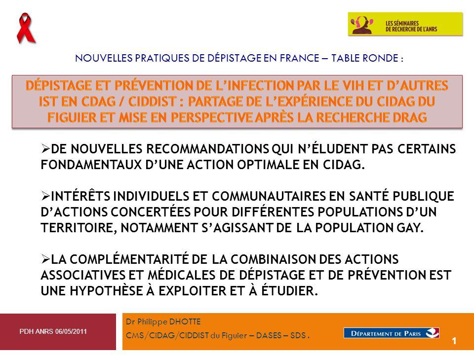 NOUVELLES PRATIQUES DE DÉPISTAGE EN FRANCE – TABLE RONDE : Dr Philippe DHOTTE CMS/CiDAG/CIDDIST du Figuier – DASES – SDS. PDH ANRS 06/05/2011 1 DE NOU
