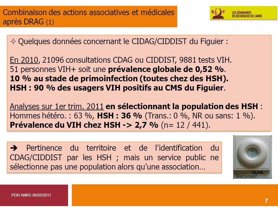 7 Quelques données concernant le CIDAG/CIDDIST du Figuier : En 2010, 21096 consultations CDAG ou CIDDIST, 9881 tests VIH. 51 personnes VIH+ soit une p