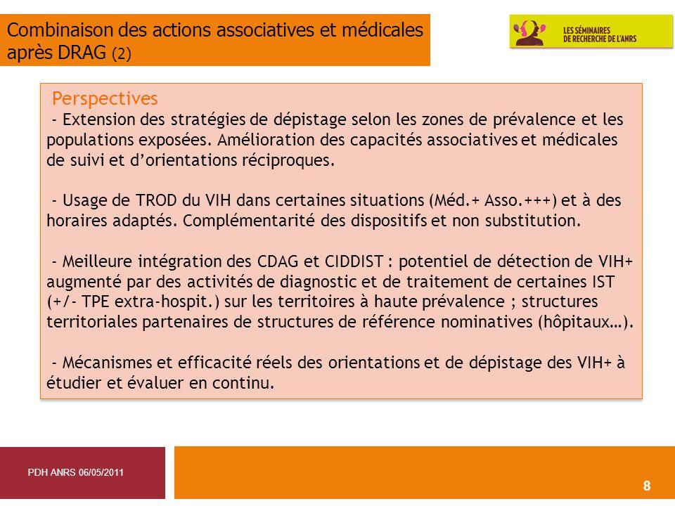 8 PDH ANRS 06/05/2011 Combinaison des actions associatives et médicales après DRAG (2) Perspectives - Extension des stratégies de dépistage selon les