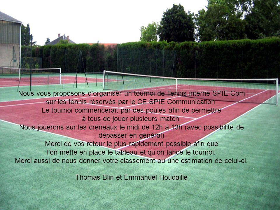Nous vous proposons dorganiser un tournoi de Tennis interne SPIE Com sur les tennis réservés par le CE SPIE Communication. Le tournoi commencerait par