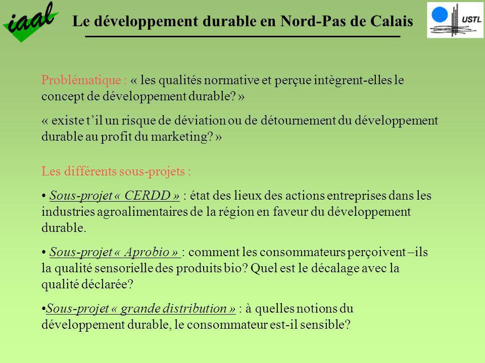 Le développement durable en Nord-Pas de Calais Problématique : « les qualités normative et perçue intègrent-elles le concept de développement durable?