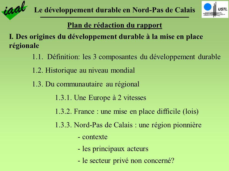 Le développement durable en Nord-Pas de Calais Plan de rédaction du rapport I. Des origines du développement durable à la mise en place régionale 1.1.