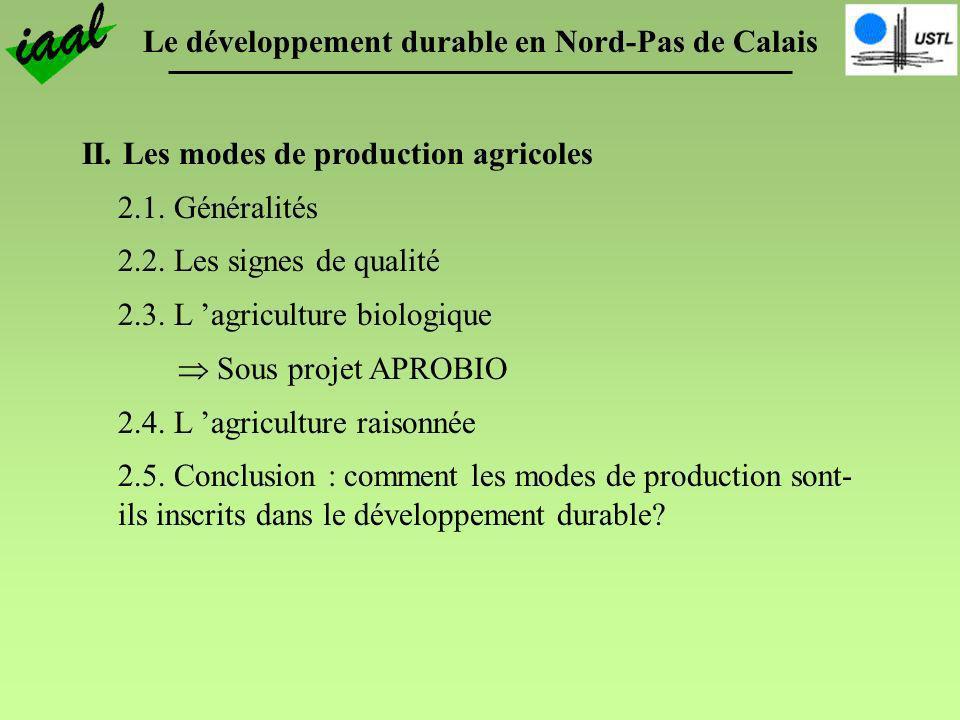Le développement durable en Nord-Pas de Calais II. Les modes de production agricoles 2.1. Généralités 2.2. Les signes de qualité 2.3. L agriculture bi