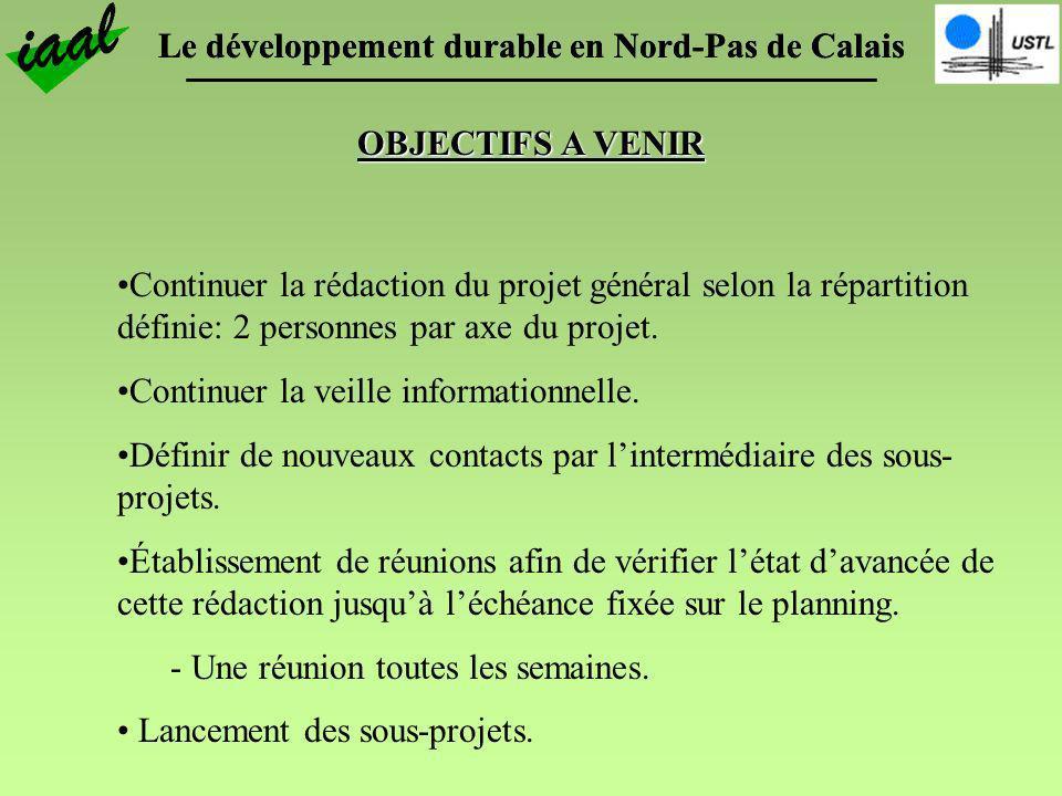 Le développement durable en Nord-Pas de Calais OBJECTIFS A VENIR Continuer la rédaction du projet général selon la répartition définie: 2 personnes pa