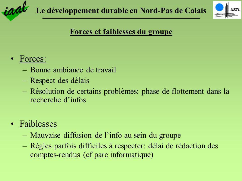Le développement durable en Nord-Pas de Calais Forces et faiblesses du groupe Forces: –Bonne ambiance de travail –Respect des délais –Résolution de ce