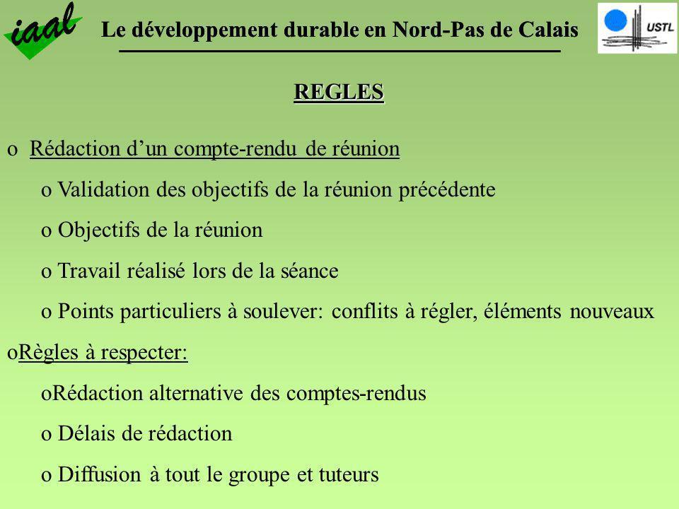 Le développement durable en Nord-Pas de Calais REGLES o Diffusion de linformation: o Compte-rendus dentretiens, de réunions et les résumés biblio sont mailés à toutes les personnes du groupe et sont à disposition dans un classeur situé dans la salle C108.