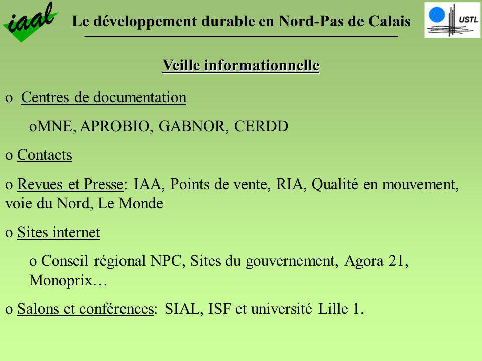 Le développement durable en Nord-Pas de Calais Veille informationnelle o Centres de documentation oMNE, APROBIO, GABNOR, CERDD o Contacts o Revues et