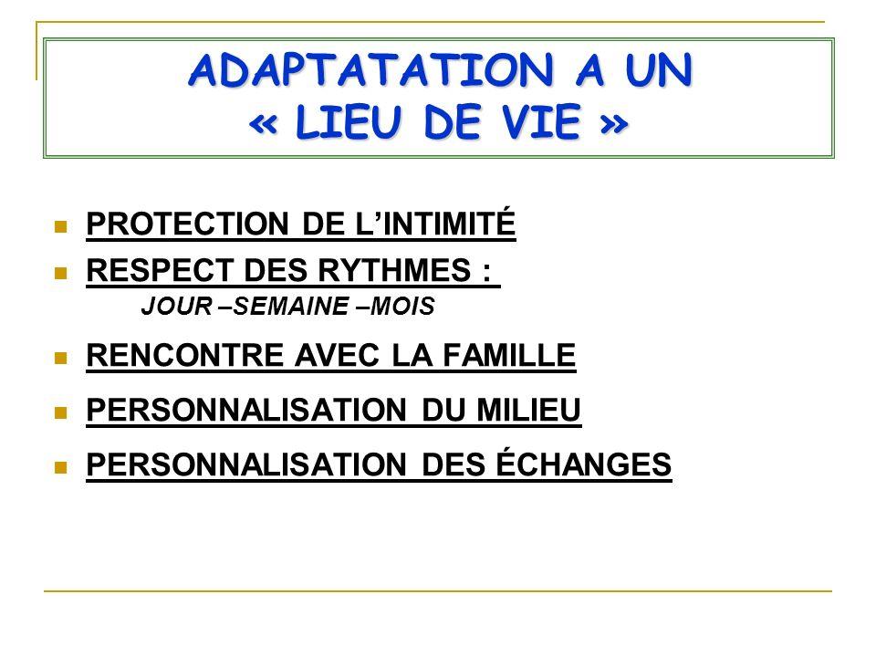 ADAPTATATION A UN « LIEU DE VIE » PROTECTION DE LINTIMITÉ RESPECT DES RYTHMES : JOUR –SEMAINE –MOIS RENCONTRE AVEC LA FAMILLE PERSONNALISATION DU MILI