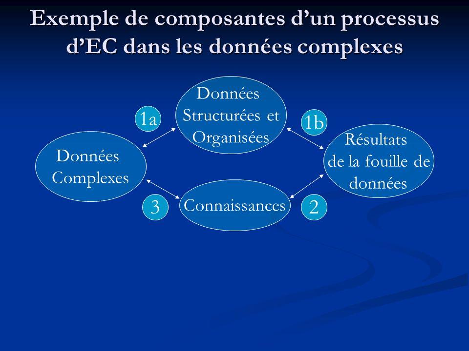 Exemple de composantes dun processus dEC dans les données complexes Données Complexes Données Structurées et Organisées Résultats de la fouille de don