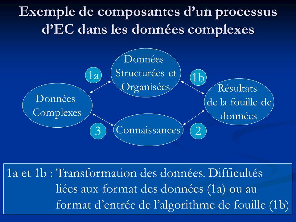 1a et 1b : Transformation des données. Difficultés liées aux format des données (1a) ou au format dentrée de lalgorithme de fouille (1b) Exemple de co
